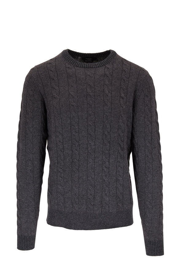 Kinross Graphite Cable Knit Cashmere Sweater