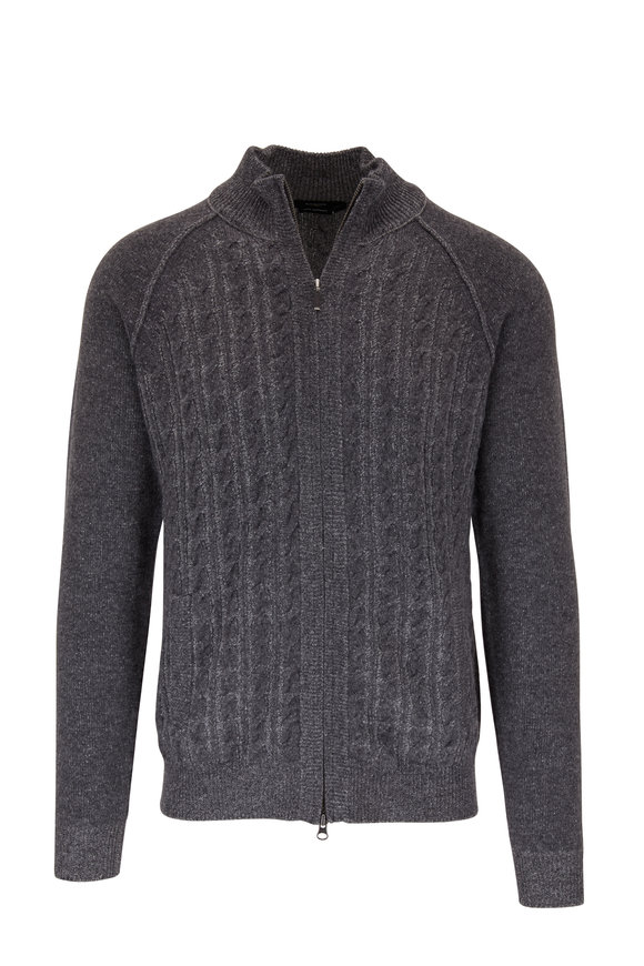 Kinross Gray Cable Knit Cashmere Quarter Zip Sweater