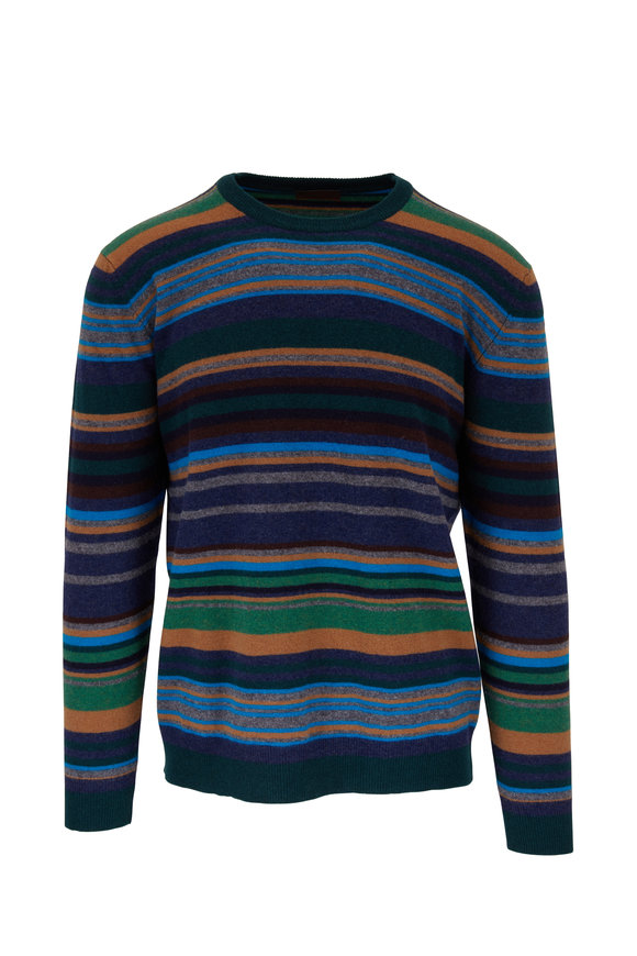 Altea Tan & Blue Striped Wool Sweater