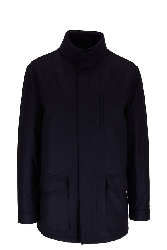 Manto Navy Wool & Cashmere Car Coat