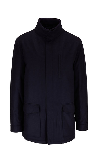 Manto - Navy Wool & Cashmere Car Coat