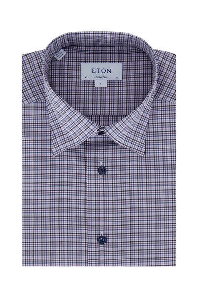 Eton - Purple Multi Plaid Contemporary Fit Dress Shirt