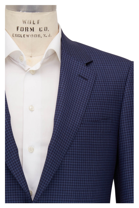 Canali Navy & Blue Check Wool Sportcoat