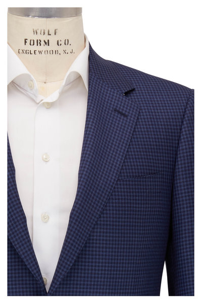 Canali - Navy & Blue Check Wool Sportcoat