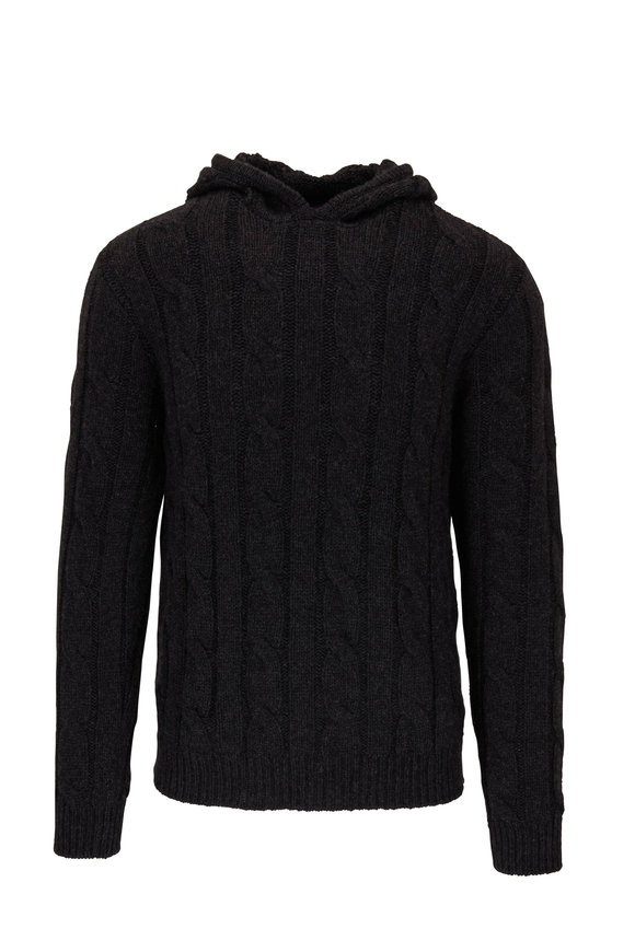 Ralph Lauren Charcoal Cable Knit Cashmere Hoodie
