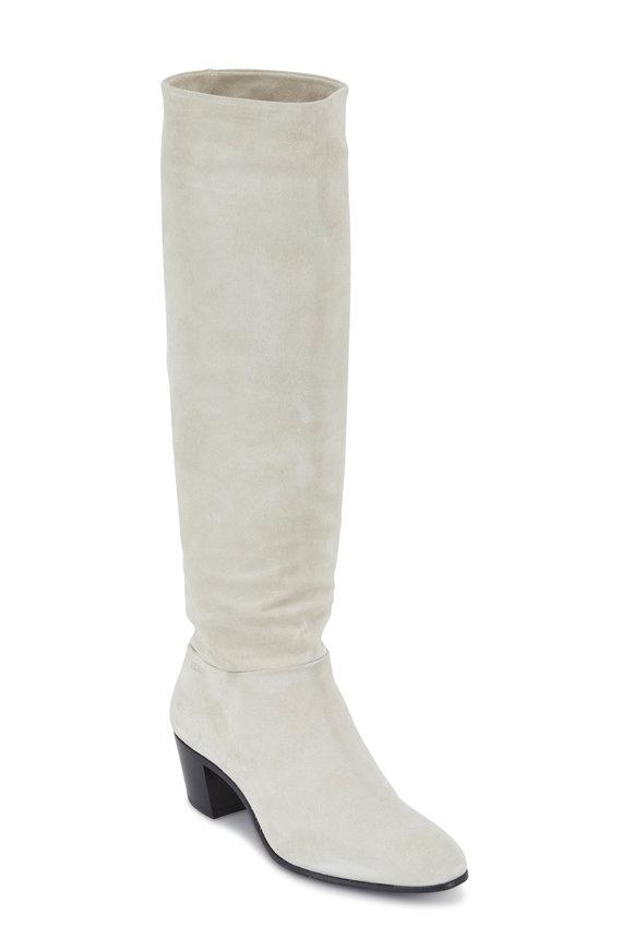 Prada Chalk Suede Slouchy Knee-High Boot, 50mm