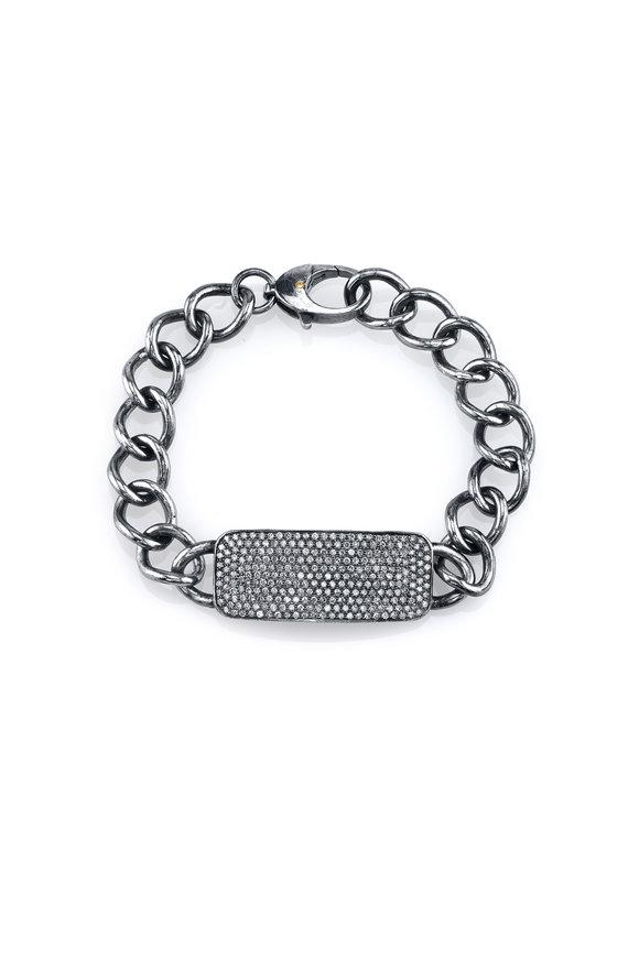 Sheryl Lowe Sterling Silver & 14K Gold Pavé ID Bracelet