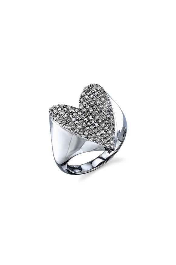 Sheryl Lowe Sterling Silver & Gold Pavé Heart Ring