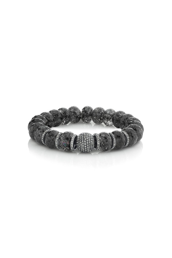 Sheryl Lowe Black Quartz & Diamond Beaded Bracelet, 12mm