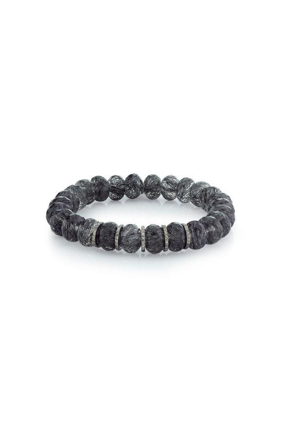 Sheryl Lowe Black Quartz & Diamond Beaded Bracelet, 10mm