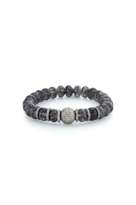 Sheryl Lowe Black Quartz & Diamond Bead Bracelet