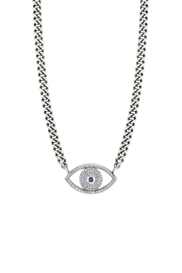 Sheryl Lowe Evil Eye Curb Chain Necklace
