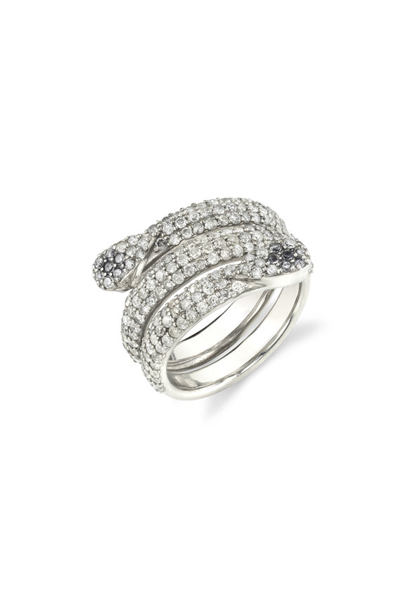 Sheryl Lowe Pavé Diamond Snake Ring