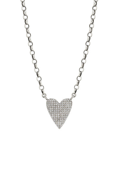 Sheryl Lowe - Diamond Folded Heart Pendant Chain Necklace