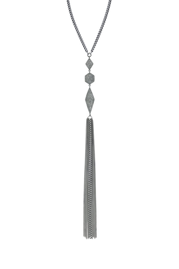 Sheryl Lowe Geometric Diamond & Chain Fringe Necklace