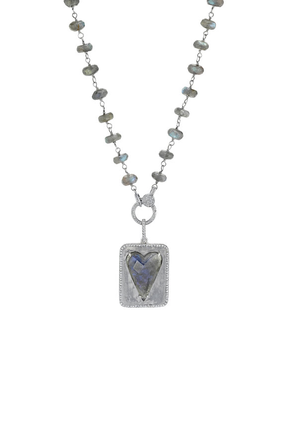 Sheryl Lowe Labradorite Heart Dogtag Link Chain Necklace