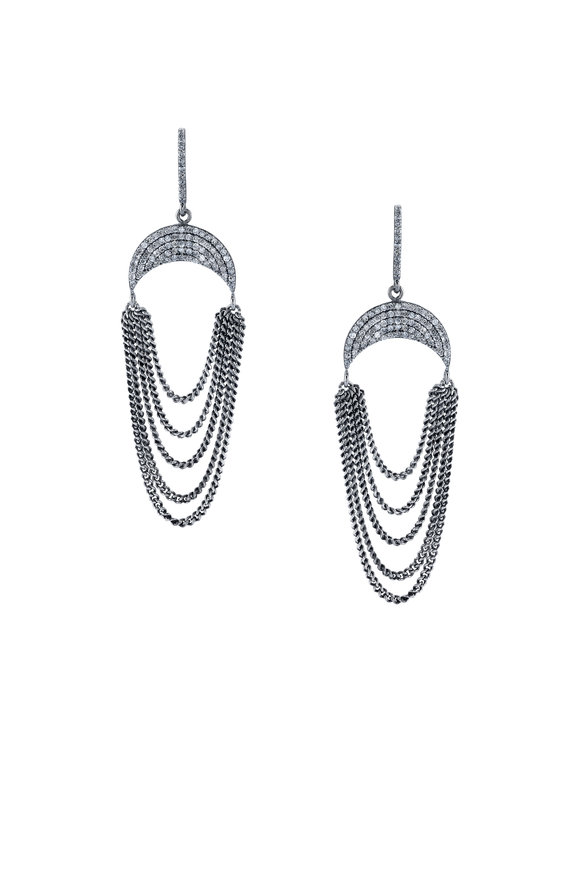 Sheryl Lowe Pavé Crescent Moon & Fringe Earrings