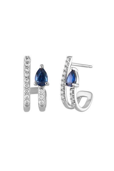 My Story Jewel - 14K White Gold Sapphire & Diamond Earrings