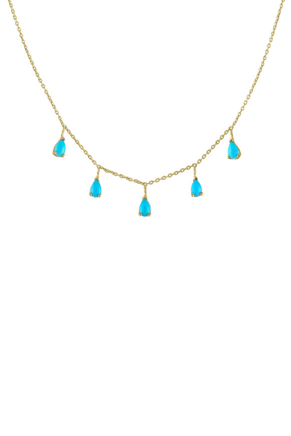 My Story Jewel 14K Yellow Gold Turquoise Dangle Necklace