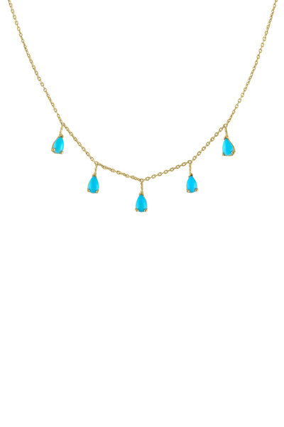 My Story Jewel - 14K Yellow Gold Turquoise Dangle Necklace