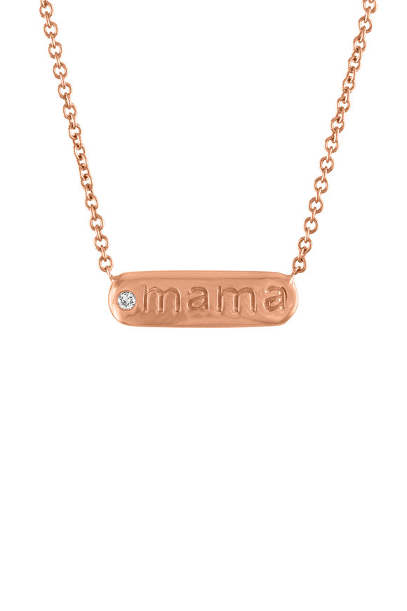 My Story Jewel 14K Rose Gold Mama Single Diamond Bar Necklace