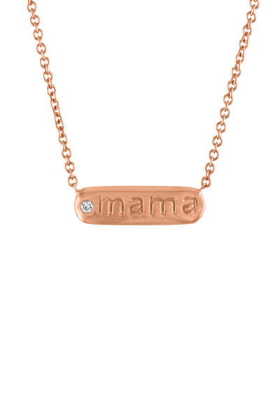 My Story Jewel - 14K Rose Gold Mama Single Diamond Bar Necklace