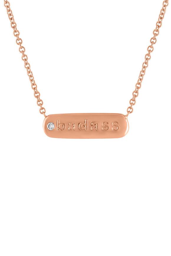 My Story Jewel 14K Rose Gold Badass Single Diamond Necklace