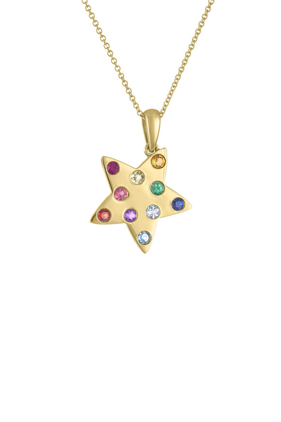 My Story Jewel 14K Yellow Gold Rainbow Star Pendant Necklace