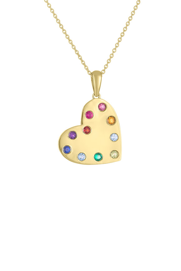 My Story Jewel 14K Yellow Gold Rainbow Sapphire Heart Necklace