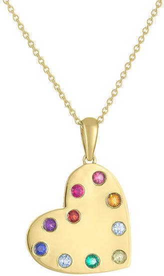 My Story Jewel 14K Yellow Gold Rainbow Sapphire Heart Necklace