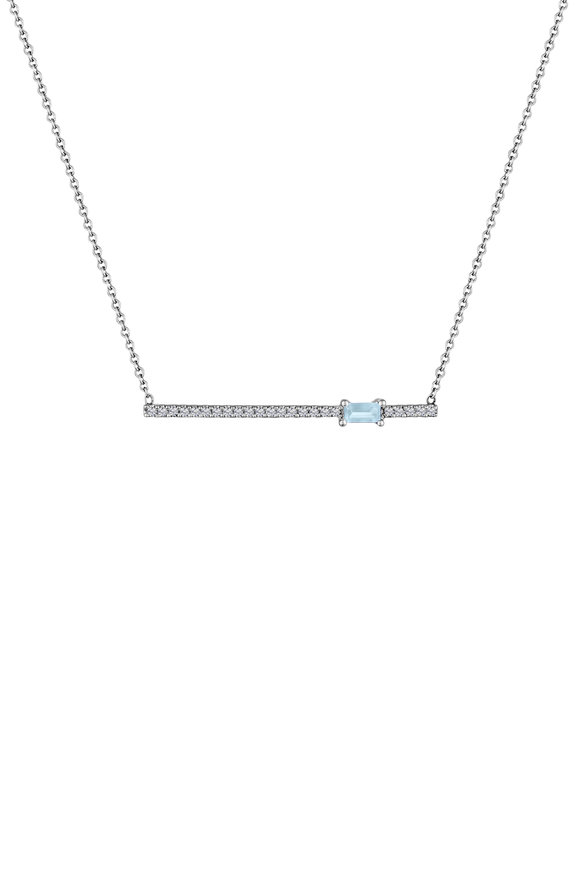 My Story Jewel 14K White Gold Aquamarine & Diamond Bar Necklace