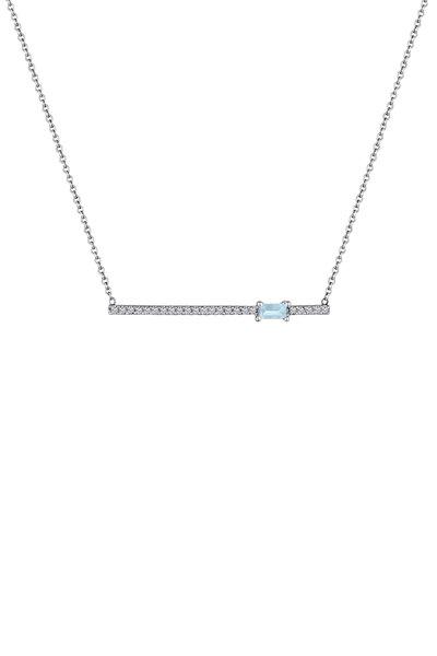 My Story Jewel - 14K White Gold Aquamarine & Diamond Bar Necklace