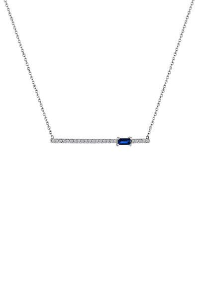 My Story Jewel - 14K White Gold Sapphire & Diamond Bar Necklace