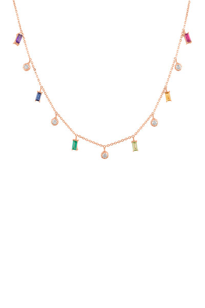 My Story Jewel - 14K Rose Gold Rainbow Sapphire Dangle Necklace