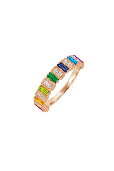 My Story Jewel - 14K Rose Gold Diamond & Rainbow Sapphire Ring