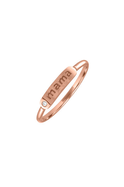 My Story Jewel - 14K Rose Gold Mama Single Diamond Ring