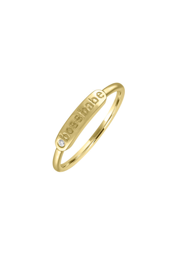 My Story Jewel 14K Yellow Gold Bossbabe Single Diamond Ring