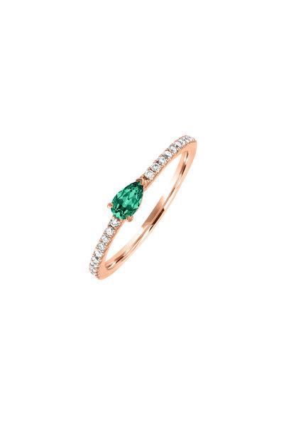 My Story Jewel - 14K Rose Gold Diamond & Emerald Ring