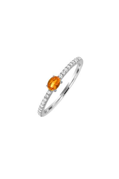 My Story Jewel - 14K White Gold Diamond & Citrine Ring