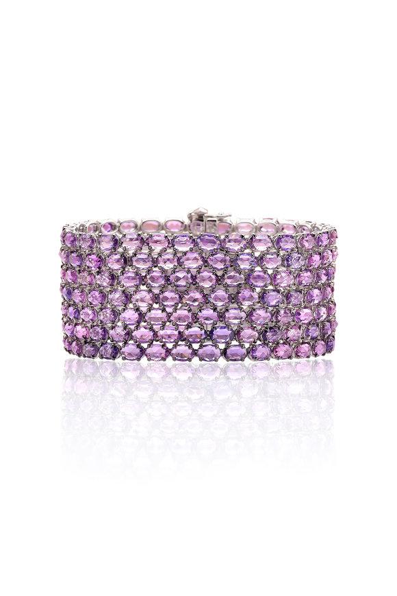 Paolo Costagli 18K White Gold Violet Sapphire Bracelet