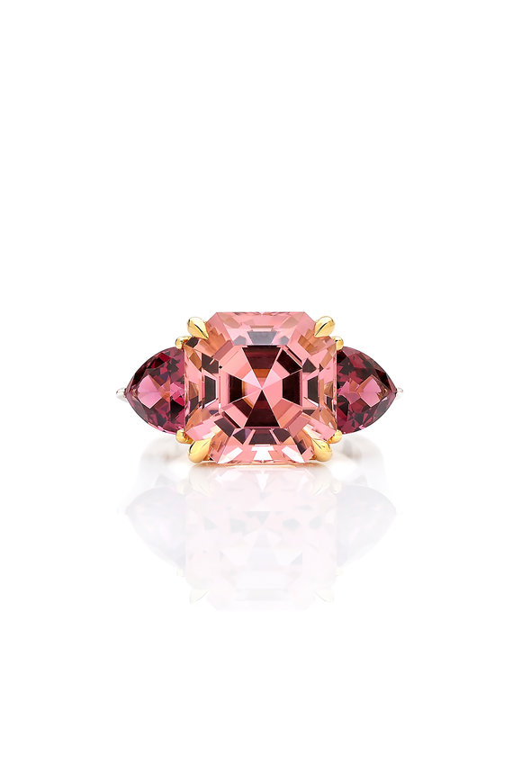 Paolo Costagli 18K Yellow Gold Pink Tourmaline & Rhodolite Ring