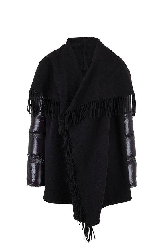 Moncler Black Fringed Wool Wrap Puffer Sleeve Coat