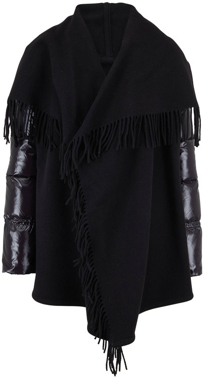Moncler Black Fringed Wool Wrap Puffer Sleeve Coat