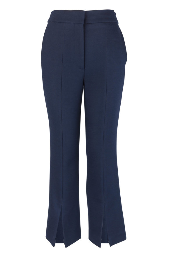 Adam Lippes Navy Blue Wool Blend Split Hem Pant