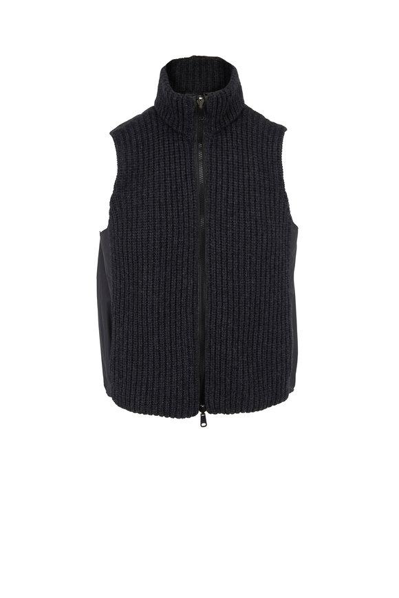 Brunello Cucinelli Onyx Cashmere Front & Taffeta Reversible Vest