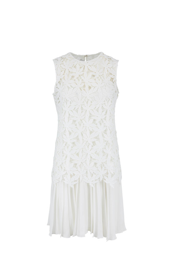 Oscar de la Renta White Lace & Pleated Flapper Sleeveless Dress