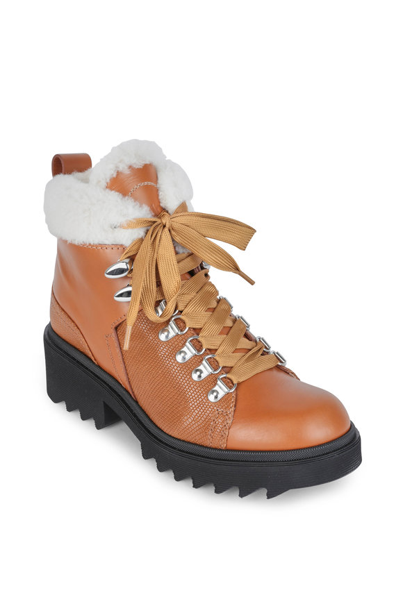 Chloé Bella Brown Leather & Shearling Boot