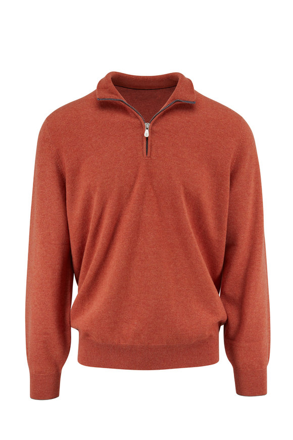 Brunello Cucinelli Orange Cashmere Quarter-Zip Sweater