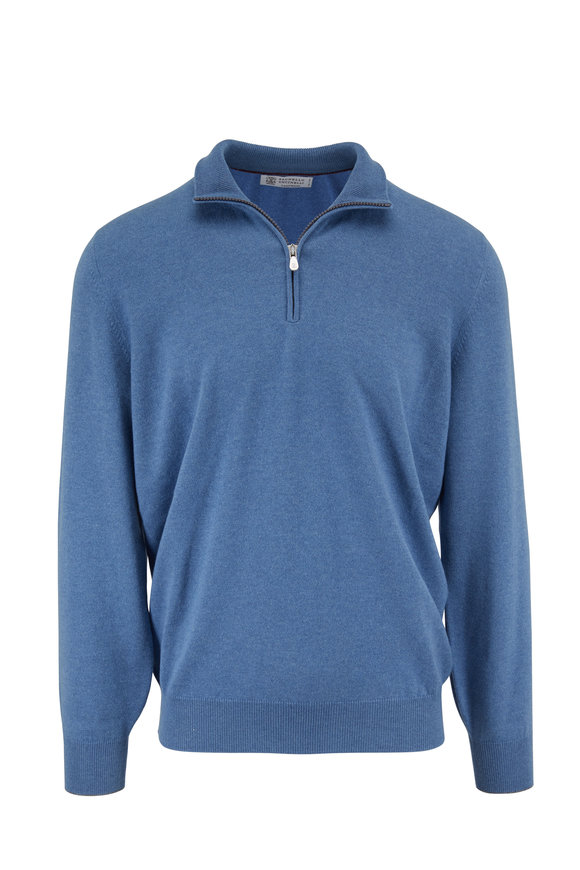 Brunello Cucinelli Light Blue Cashmere Quarter-Zip Sweater