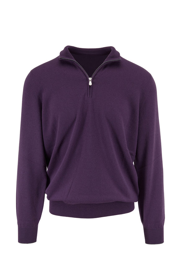 Brunello Cucinelli Purple Cashmere Quarter-Zip Pullover